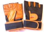 Перчатки для фитнеса рыжие с черным  без пальцев 2406  L